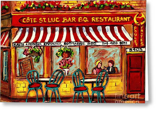 Rotisserie Cote St Luc Bbq Paris Style Sidewalk Cafe Romantic Bistro Paintings Art Of Montreal  Greeting Card by Carole Spandau