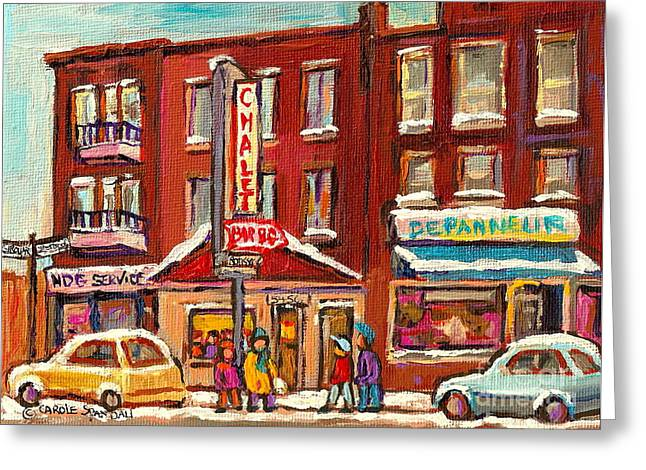 Montreal Diners Greeting Cards - Rotisserie Le Chalet Bar B Q Sherbrooke West Montreal Winter City Scene Greeting Card by Carole Spandau