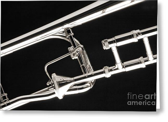 Marching Band Greeting Cards - Rotor Tenor Trombone on Black in Sepia 3464.01 Greeting Card by M K  Miller