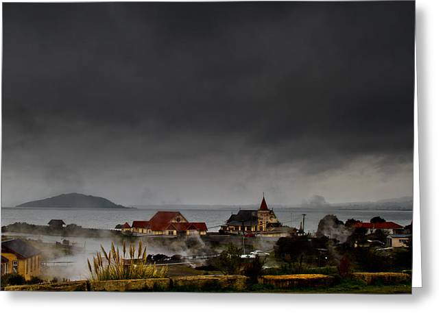 Red Roof Photographs Greeting Cards - Rotorua Greeting Card by Constance Fein Harding