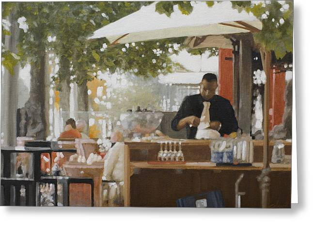 Storm Prints Paintings Greeting Cards - Rotterdam Street Cafe Greeting Card by John Silver