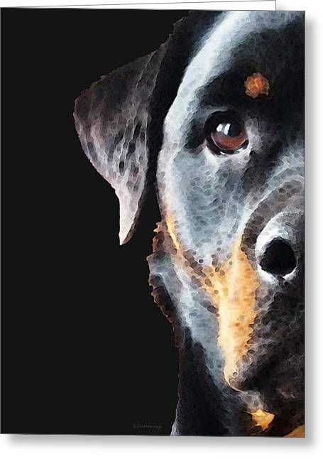 Puppies Print Greeting Cards - Rottie Love - Rottweiler Art By Sharon Cummings Greeting Card by Sharon Cummings