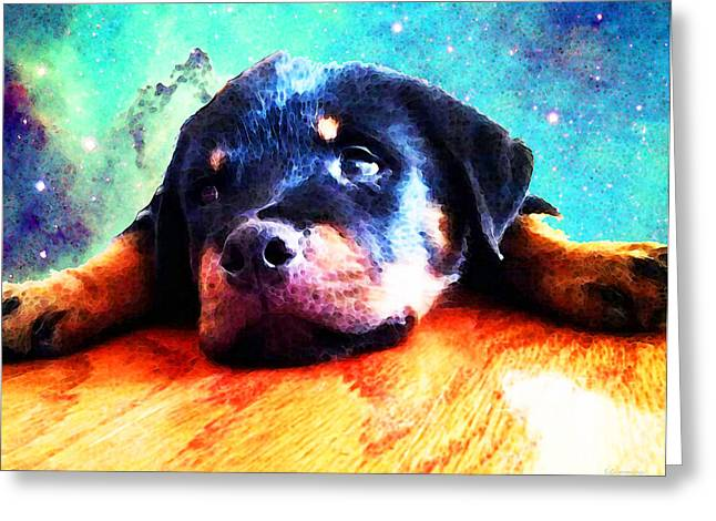 Silly Greeting Cards - Rottie Puppy by Sharon Cummings Greeting Card by Sharon Cummings