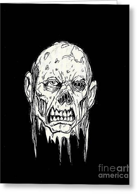 Sex Drawings Greeting Cards - Rotting Head Greeting Card by Alaric Barca