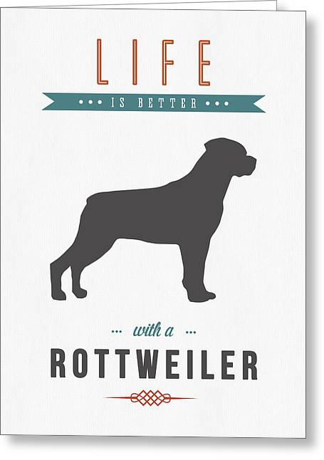 Dogs. Doggy Greeting Cards - Rottweiler 01 Greeting Card by Aged Pixel