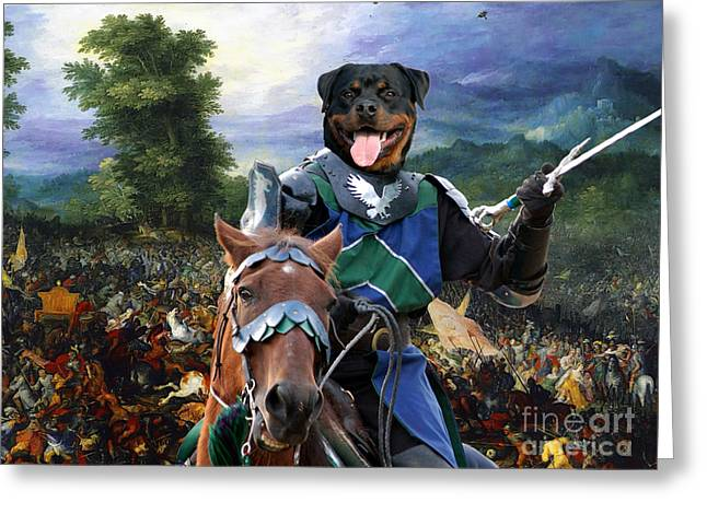 Rottweiler Dog Greeting Cards - Rottweiler Art - The Brave Knight Greeting Card by Sandra Sij