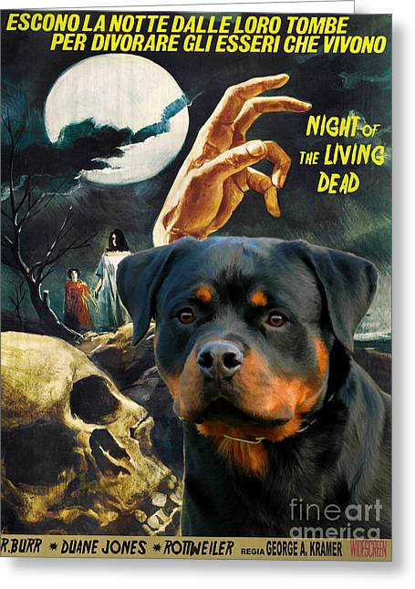 Living Dead Greeting Cards - Rottweiler Art Canvas Print - Night of the Living Dead Movie Poster Greeting Card by Sandra Sij
