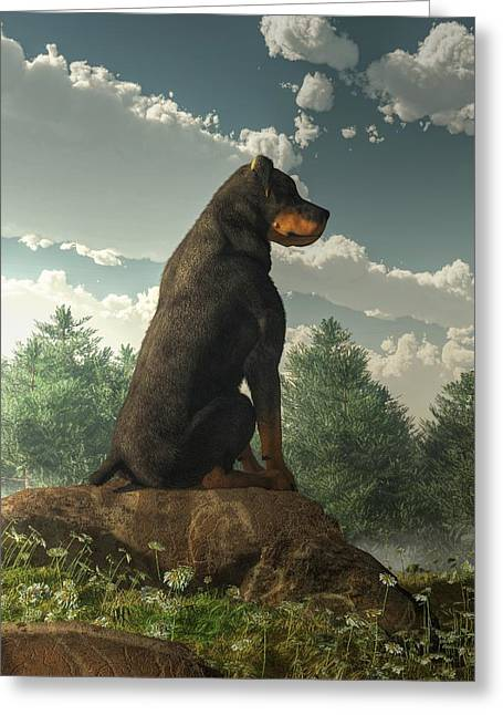 Watchdog Greeting Cards - Rottweiler  Greeting Card by Daniel Eskridge