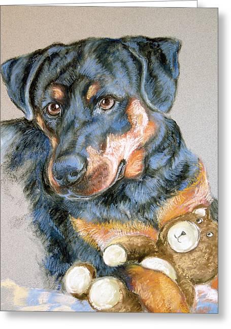 Rottweiler Illustration Greeting Cards - Rottweiler Dog Greeting Card by Barbara Lightner