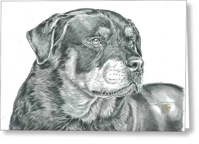 Painted Puppies Drawings Greeting Cards - Rottweiler  Greeting Card by Elizabeth Sage