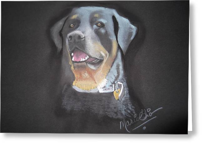 Guard Dog Pastels Greeting Cards - Rottweiler ll Greeting Card by Mario Elia