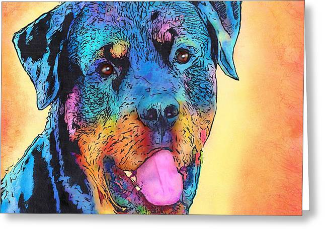 Guard Dog Greeting Cards - Rottweiler Greeting Card by Marlene Watson