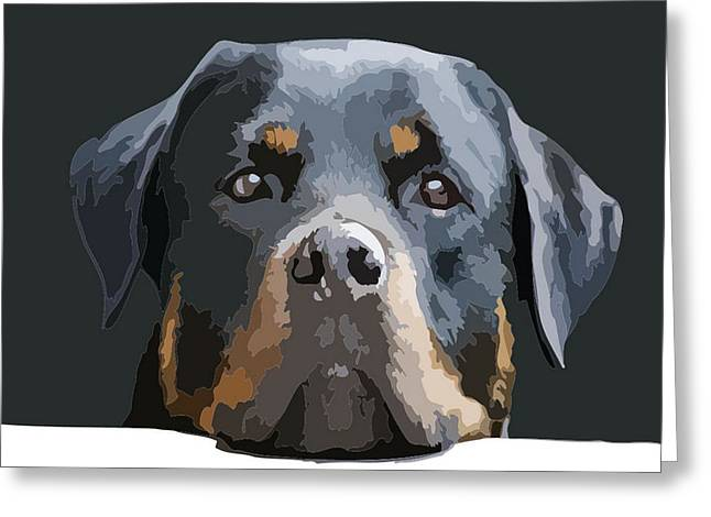 Owner Digital Greeting Cards - Rottweiler Portrait Vector Greeting Card by Tracey Harrington-Simpson