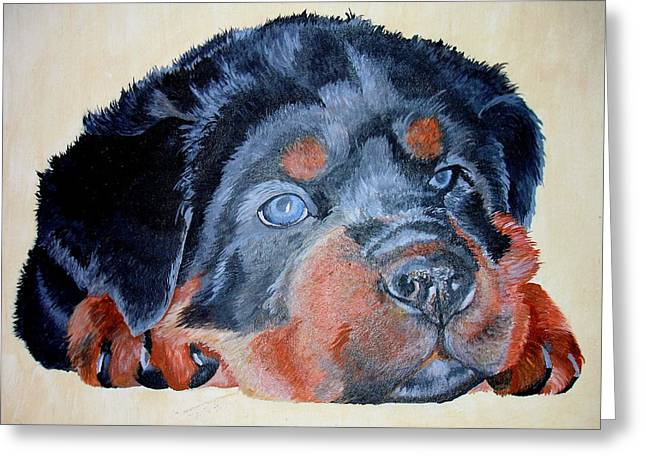 Tracey Harrington-simpson Greeting Cards - Rottweiler Puppy Portrait Greeting Card by Tracey Harrington-Simpson