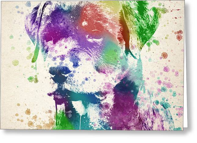 Patch Greeting Cards - Rottweiler Splash Greeting Card by Aged Pixel