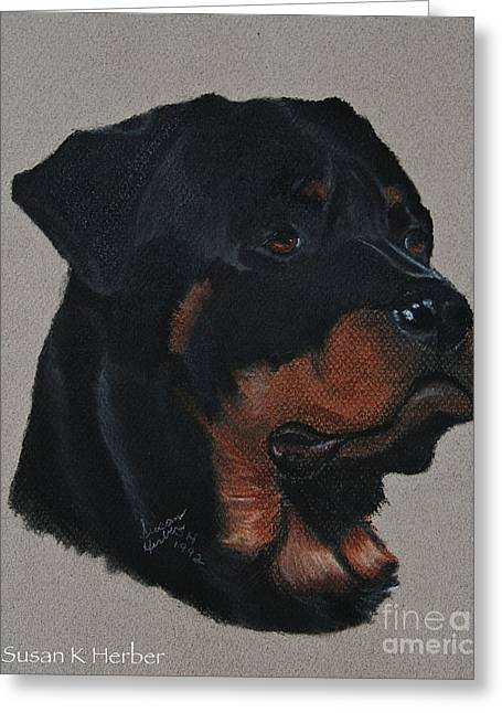 Guard Dog Pastels Greeting Cards - Rottweiler Greeting Card by Susan Herber