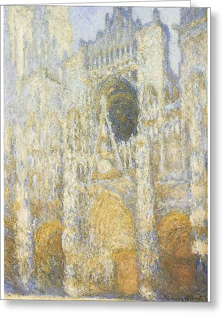 Rouen Greeting Cards - Rouen Cathedral at Dawn Greeting Card by Claude Monet