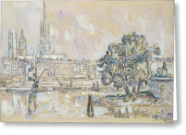 Rouen Greeting Cards - Rouen Cathedral Charcoal & Wc On Paper Greeting Card by Paul Signac