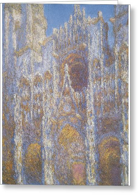 Rouen Greeting Cards - Rouen Cathedral Facade Greeting Card by Claude Monet