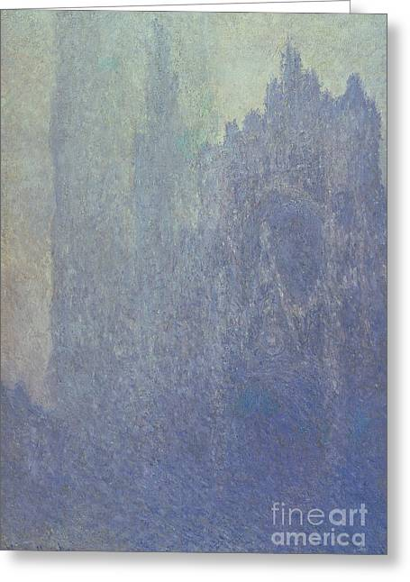Fog Mist Greeting Cards - Rouen Cathedral Foggy Weather Greeting Card by Claude Monet