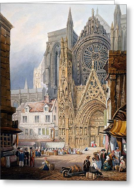 Portal Drawings Greeting Cards - Rouen Cathedral Greeting Card by Samuel Prout