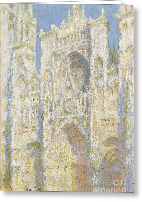 Impressionist Paintings Greeting Cards - Rouen Cathedral West Facade Greeting Card by Claude Monet