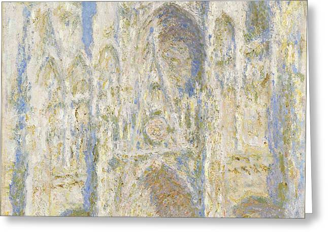 Rouen Cathedral West Facade Greeting Card by Claude Monet