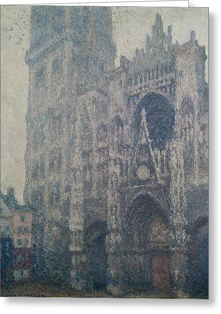 Rouen Greeting Cards - Rouen Cathedral West Portal Grey Weather Greeting Card by Claude Monet