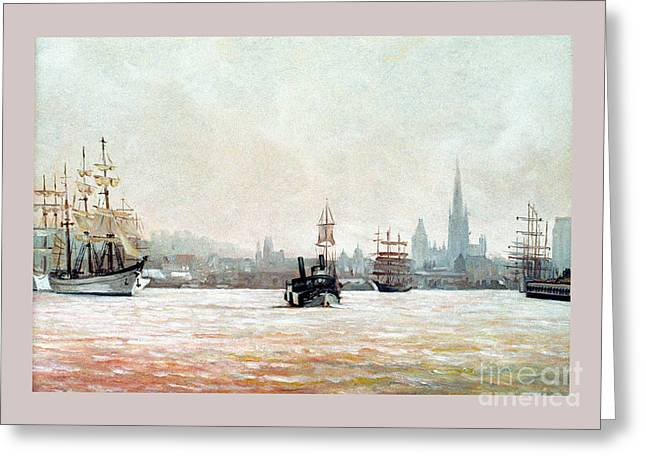 Rouen-tall Ships Greeting Card by Caroline Beaumont
