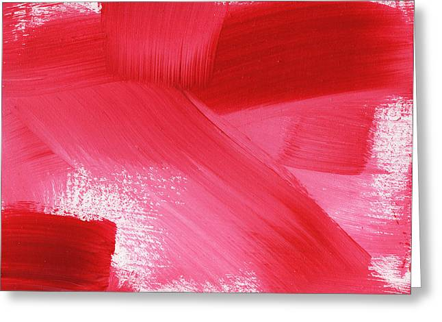Red Art Greeting Cards - Rouge 2- horizontal abstract painting Greeting Card by Linda Woods