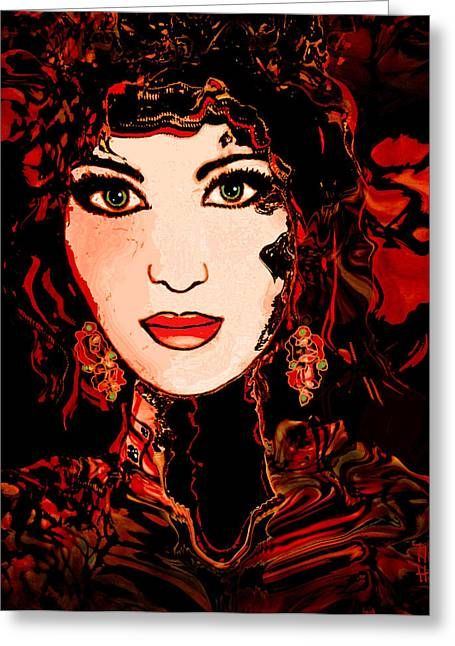 Gold Earrings Greeting Cards - Rouge Greeting Card by Natalie Holland