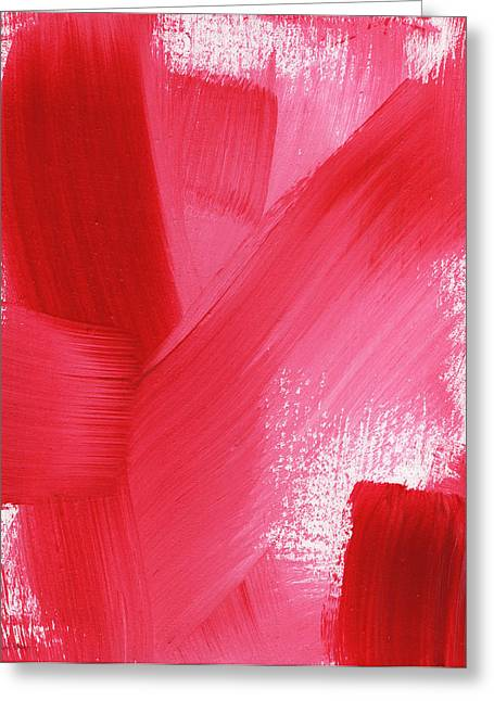 Bedroom Art Greeting Cards - Rouge- vertical abstract painting Greeting Card by Linda Woods