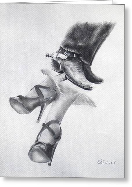 Black Boots Drawings Greeting Cards - Rough and Ready Greeting Card by Karen Stitt