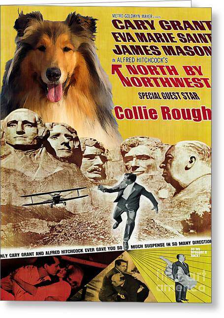 Rough Collie Art Canvas Print - North By Northwest Movie Poster Greeting Card by Sandra Sij