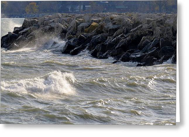 Storm Prints Digital Greeting Cards - Rough Day On The Lake Greeting Card by Kay Novy