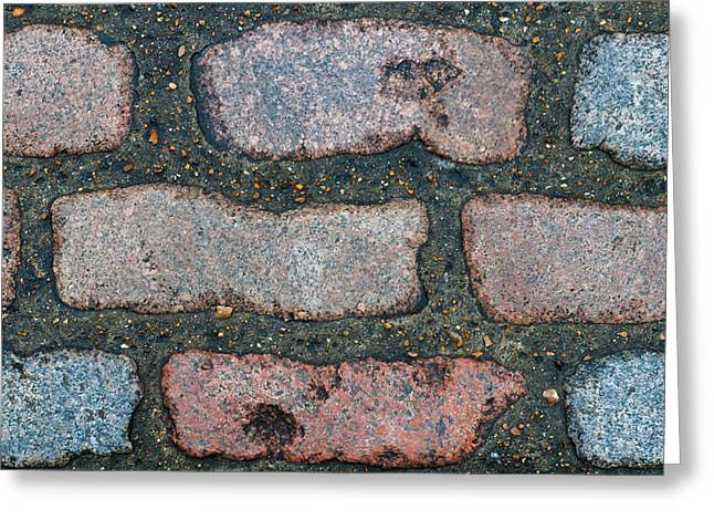 Old Pathway Greeting Cards - Rough Edged Bricks In Cement Greeting Card by Chay Bewley