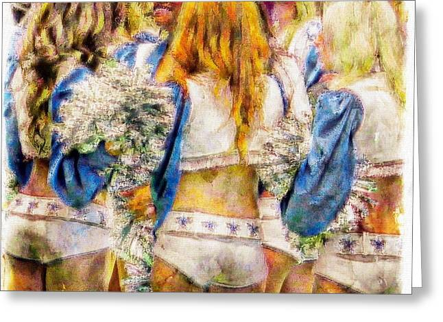 Cowboys Cheerleaders Greeting Cards - Rough game Greeting Card by Carrie OBrien Sibley