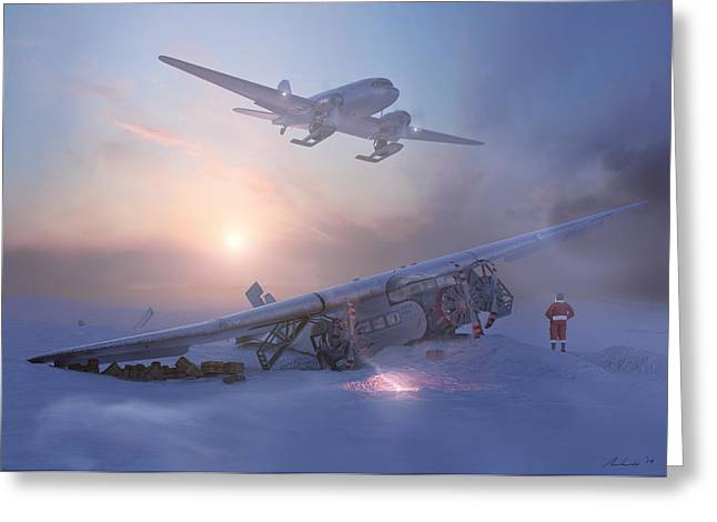 Dc-3 Greeting Cards - Rough Night at the North Pole Greeting Card by Hangar B Productions