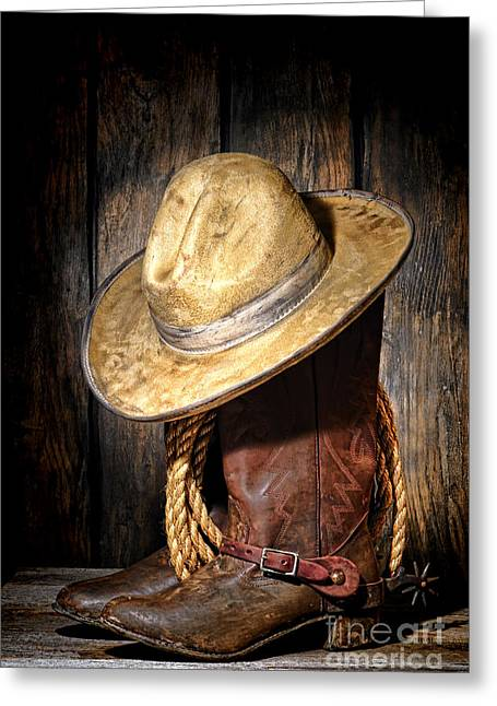 Weathered Barn Greeting Cards - Rough Rider Greeting Card by Olivier Le Queinec