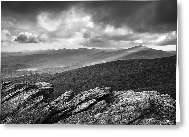 Nc State Greeting Cards - Rough Ridge Grandfather Mountain Blue Ridge Parkway - Remains of the Day Greeting Card by Dave Allen