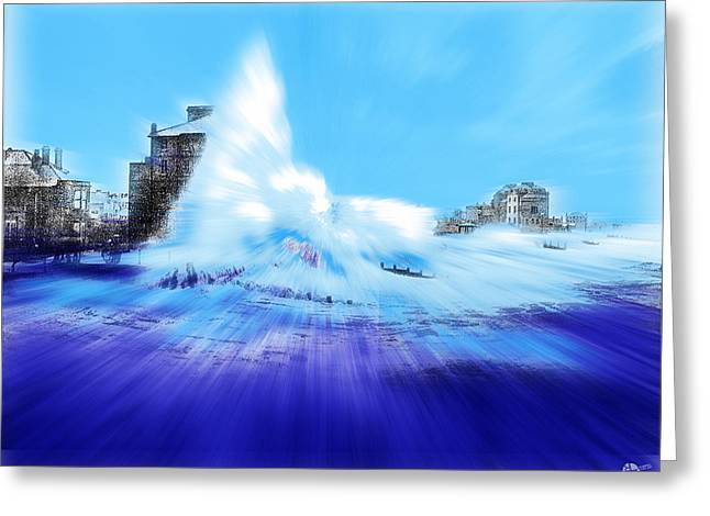 Europe Mixed Media Greeting Cards - Rough sea Bognor England Greeting Card by Tony Rubino