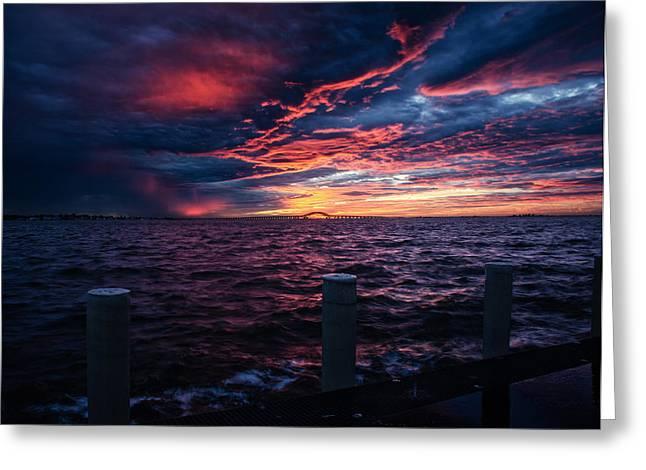 Recently Sold -  - Bay Bridge Greeting Cards - Rough Seas at Sunrise Greeting Card by Vicki Jauron