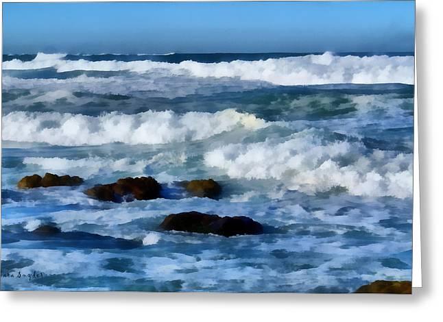 Monterey Ocean Scene Greeting Cards - Rough Seas Monterey California Watercolor Greeting Card by Barbara Snyder
