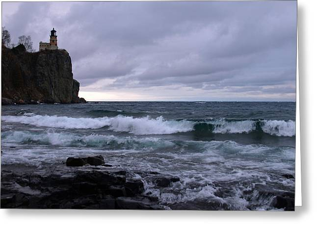 Rough Surf at Split Rock Greeting Card by James Peterson