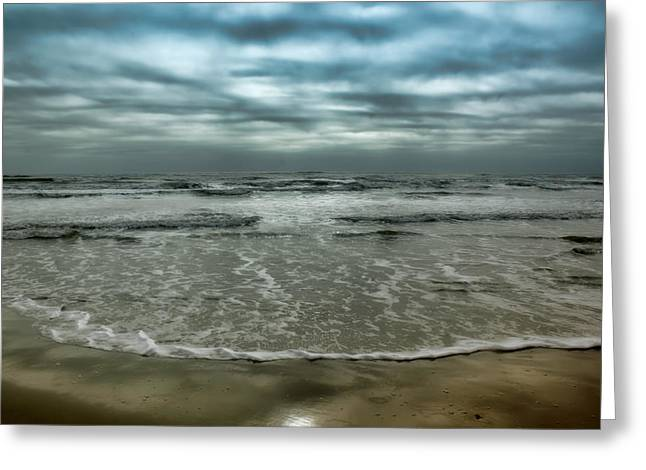 Grey Clouds Digital Art Greeting Cards - Rough Surf Greeting Card by Ellen Heaverlo