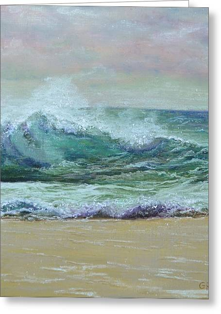 Surf Pastels Greeting Cards - Rough Surf Greeting Card by Joanne Grant