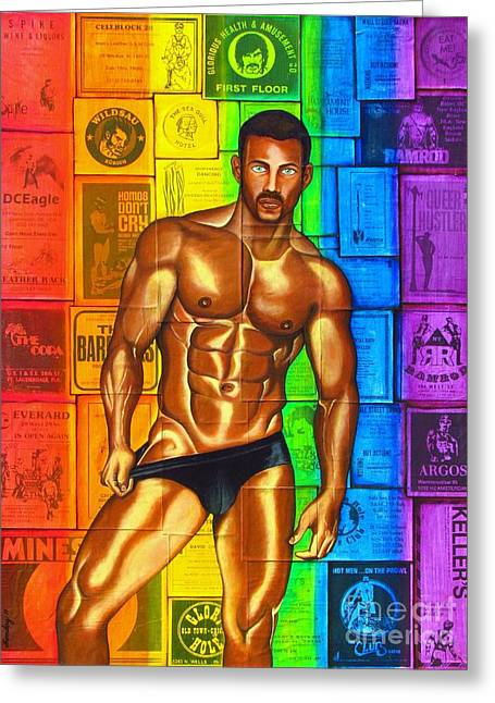 Homoerotic Mixed Media Greeting Cards - Rough Trade Greeting Card by Joseph Sonday