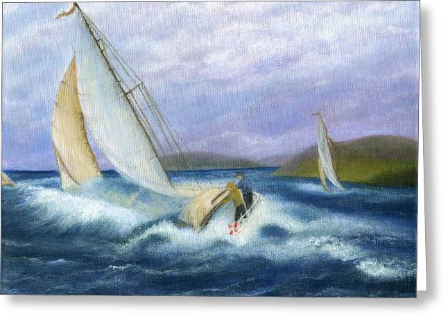 Catherine White Paintings Greeting Cards - Rough Water Sailing Greeting Card by Catherine Howard