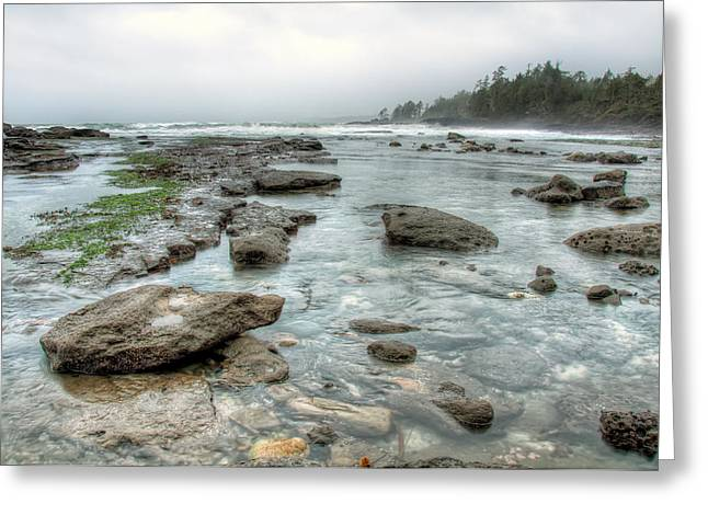 Juan De Fuca Provincial Park Greeting Cards - Rough Waters Greeting Card by James Wheeler