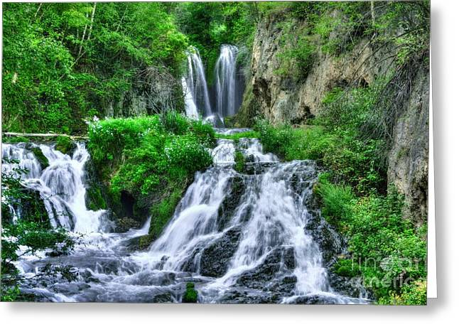 Water Flowing Mixed Media Greeting Cards - Roughlock Falls Greeting Card by Mel Steinhauer